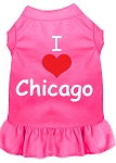 I Heart Chicago Screen Print Dog Dress Bright Pink XS (8)